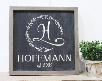 Square Monogram Last Name Sign with Wreath | 12x12 Farmhouse Wedding Gift | Carved Engraved Rustic Wooden Farmhouse Sign with Frame