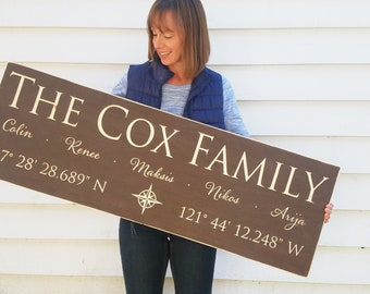 Large Last Name Sign with GPS Coordinates and First Names | Personalized Family Wood Sign | 16x48 Carved Engraved Farmhouse Wooden Sign