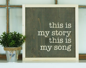 This is my Story This is my Song | 12x12 Carved Framed Wooden Sign | Blessed Assurance Farmhouse Hymn Wood Sign with Frame