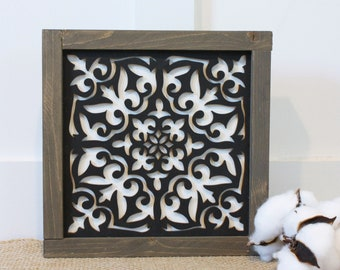 9x9 Mosaic Tile - Abigail  | Farmhouse Decor 3D Laser Cut Gallery Wall Sign - Mosaic Framed Wood Sign