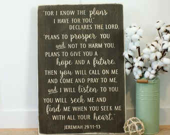 I Know The Plans I Have For You Jeremiah 29:11 Carved Wooden Sign - 16x24 Vintage Farmhouse Distressed Bible Verse Wood Sign