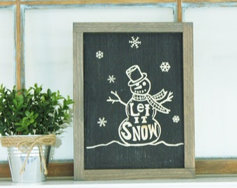 Let it Snow Snowman   8x12 Carved Framed Farmhouse Wood Sign   Holiday Winter Snowflake Rustic Wooden Sign
