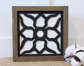 9x9 Mosaic Tile - Sonja  | Farmhouse Decor 3D Laser Cut Gallery Wall Sign - Mosaic Framed Wood Sign