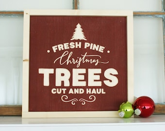 Fresh Pine Christmas Trees   12x12 Christmas Holiday Carved Farmhouse Wood Sign   Distressed Rustic Wooden Sign