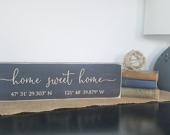 Home Sweet Home with GPS Coordinates   5.25x18 Wood Sign   Housewarming Gift   Carved Sign   Farmhouse Rustic Wooden Sign