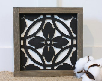 9x9 Mosaic Tile - Eva  | Farmhouse Decor 3D Laser Cut Gallery Wall Sign - Mosaic Framed Wood Sign