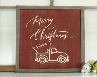 Vintage Truck and Christmas Tree   12x12 Merry Christmas Carved Farmhouse Wood Sign   Distressed Rustic Wooden Holiday Sign