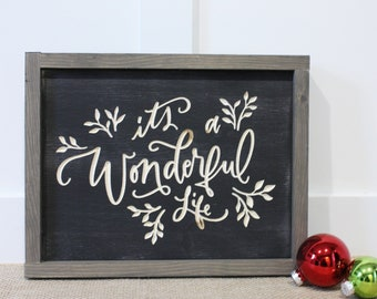 It's a Wonderful Life   10x12 Christmas Carved Farmhouse Wood Sign   Distressed Rustic Wooden Sign