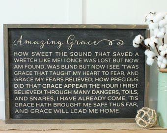 Amazing Grace How Sweet The Sound | 16x24 Carved Framed Farmhouse Wood Sign | Hymn Rustic Wooden Sign