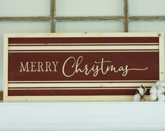 Merry Christmas   10x24 Carved Framed Farmhouse Wood Sign   Holiday Rustic Wooden Sign