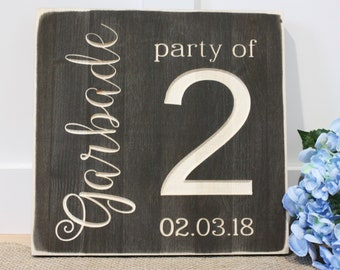 Personalized Party of 2 Rustic Wedding Sign - 12x12 Farmhouse Wedding Carved Wooden Sign