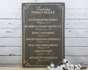 Family Rules Sign with Scripture  | 16x24 Customizable Rules | Farmhouse Carved Rustic Wood Sign