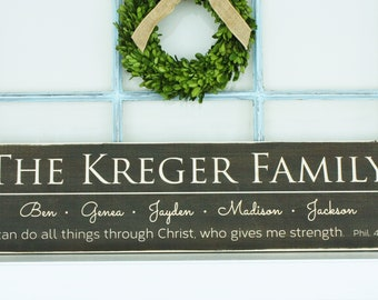 Last Name Sign with Script First Names and Verse or Motto Personalized Family Wood Sign - 10x36 Wedding Anniversary Carved Wooden Sign