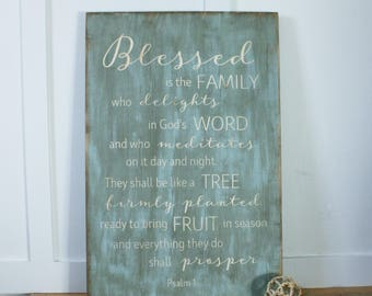 Psalm 1 Blessed is the Family Who Delights in God's Word Carved Wooden Sign - 20x30 Vintage Farmhouse Bible Verse Scripture Wood Sign