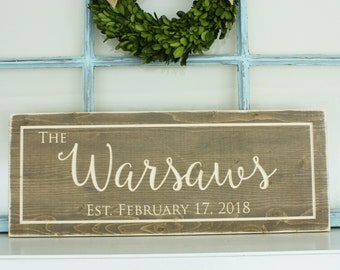 Farmhouse Script Last Name Sign  | 10x24 Carved Wood with Established Date | Engraved Rustic Wooden Sign