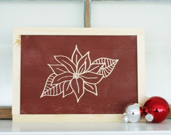 Christmas Poinsettia Sign   8x12 Carved Wood Sign Christmas Decor   Engraved Farmhouse Wooden Distressed Holiday Sign