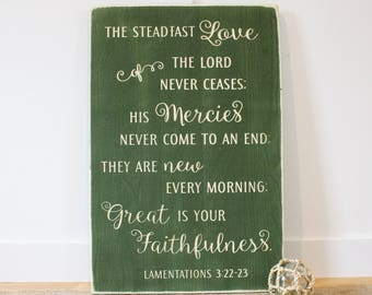16x24 Great is Your Faithfulness Lamentations 3 Carved Wooden Sign