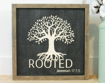 Rooted Tree with Roots  | Carved Framed Wooden Sign | 12x12 Engraved Farmhouse Bible Verse Rooted Wood Sign