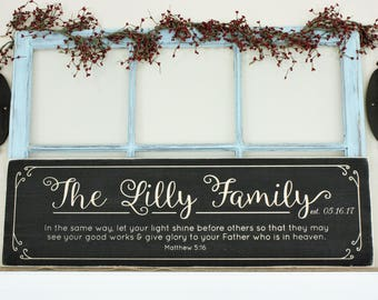 Chalkboard Script Last Name  | 12x48 Carved Wood Sign with Motto or Verse | Personalized Farmhouse Sign | Wedding Anniversary Gift