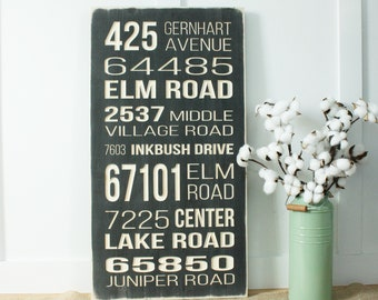 CREATE YOUR OWN Address City State  Carved Wood Subway Sign  - 16x30 Distressed Farmhouse Carved Wooden Sign