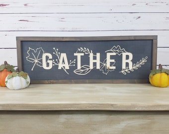 Gather Carved Wood Sign  | 8x24 Fall Decor Wood Sign with Farmhouse Frame | Carved Letters