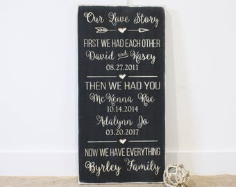 First We Had Each Other Then We Had You - Our Love Story Family Date Sign - Carved Engraved Rustic Farmhouse Wooden Sign