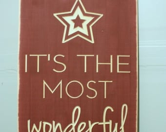 It's the Most Wonderful Time of the Year   12x24 Christmas Holiday Wood Sign   Carved Engraved Farmhouse Distressed Wooden Sign