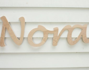 "Large HANDWRITING Script Name  | 12"" Tall Wood Name Farmhouse Nursery Baby Girl Boy"
