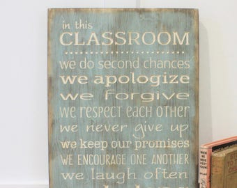 In This Classroom Rules  | 12x18 Teacher Rules School Rules | We Do Wood Subway Sign | Handpainted Carved Rustic Wooden Sign