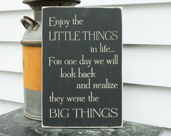 Enjoy the Little Things in Life  | 12x18 Mother Daughter Carved Wood Sign | Shabby Chic Engraved Rustic Wooden Sign