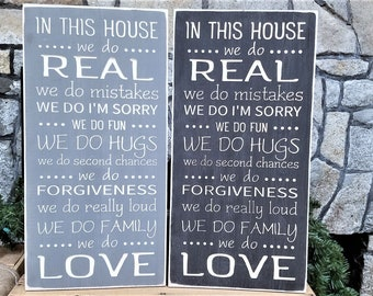 IN STOCK - 12x24 In This House We Do Rules | House Rules Family Rules We Do Real