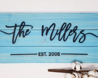 Pallet Last Name Sign w/ Farmhouse Script - Aqua | Laser 3D Layered Sign | Housewarming Wedding Anniversary Gift | Wooden Plank Sign