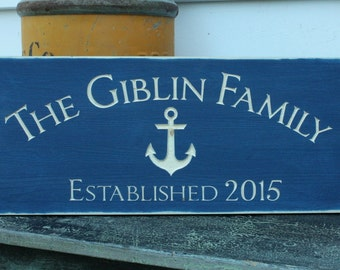 Anchor Last Name Established Sign  | 10x24 Carved Wood Nautical Sign | Engraved Housewarming Lake Cottage