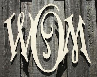 Wooden Monogram - Unpainted - Carson Monogram Font