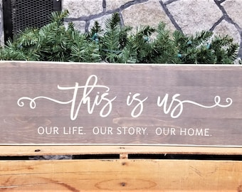 IN STOCK - This is Us | 8x24 Carved Wooden Farmhouse Sign with Frame in Vintage Stain