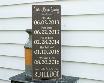 Our Love Story Wedding Date Sign | 5 Dates   | 12x30 Carved Wood Sign | Important Dates Engaged | Personalized Rustic Wedding