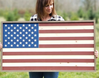 Large Wooden American Flag | 22x41 Farmhouse Wood Sign | Rustic Carved Flag with Farmhouse Frame