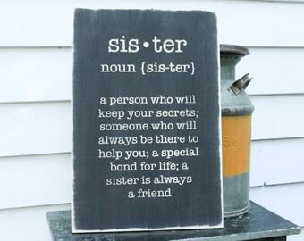 Sister Definition Webster's Carved Wooden Sign - 16x24 Engraved Distressed Wood Sign