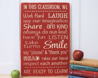 Classroom Rules Teacher Rules School Rules Wood Subway Sign - 16x24 Shabby Chic Handpainted Carved Rustic Wooden Sign
