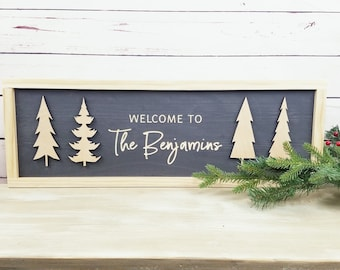 Welcome Last Name Sign with Trees | Carved Cabin Sign with 3D Laser Trees | Wooden Sign Christmas Decor Wood Sign | Farmhouse Holiday Sign