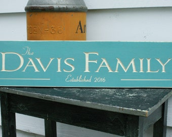 Elegant Last Name Sign  | 8x30 Carved Personalized Wood Sign | Wedding Date Established | Engraved Rustic Wooden Sign