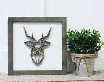 Geometric Deer | 9x9 Square Antlers Farmhouse Sign | Laser Cut 3D Layered Wood Sign with Wooden Frame | Thanksgiving Hunting Mantel Sign