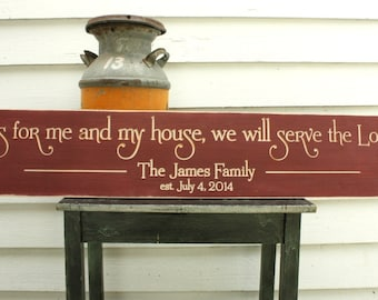 As for Me and My House We Will Serve The Lord  | 10x48 Personalized Family Name Wood Sign | Wedding Carved Wooden Sign