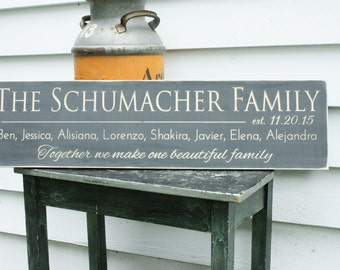 Last Name Sign with Quote or Motto, First Names and Date Personalized Family Wood Sign - 10x36 Wedding Anniversary Carved Wooden Sign