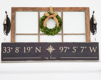 LARGE GPS Coordinates Sign with Farmhouse Script   10x48 Customized Latitude Longitude Sign with Compass Rose   Carved Farmhouse Sign