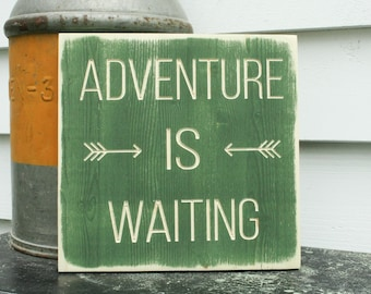 Adventure Is Waiting Rustic Wooden Mantle Cabin Sign -  12x12 Carved Distressed Wood Sign