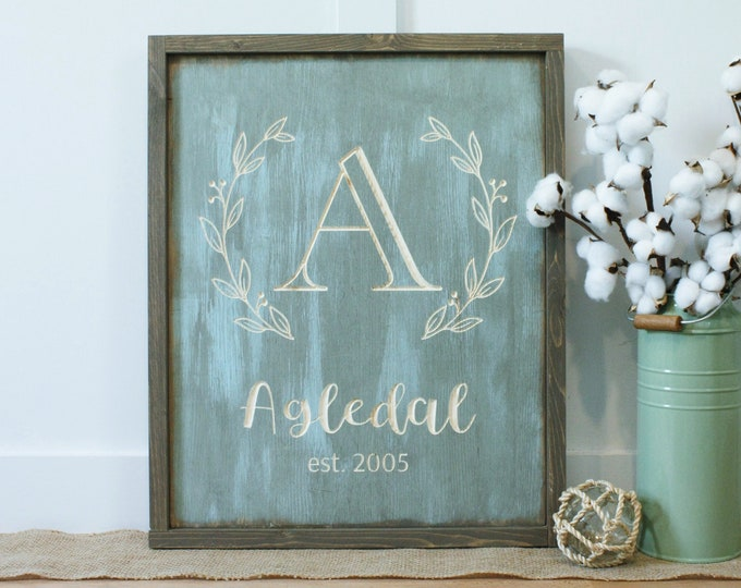 Featured listing image: Last Name Monogram with Wreath  |Carved Framed Farmhouse Wooden Sign | 16x24 Engraved Wood Sign with Frame