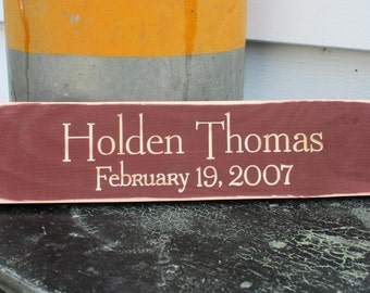 Additional Carved Wooden Grandchild Tile for Grandparent Sign - 4x14 Custom Personalized Painted Carved Rustic Wooden Sign