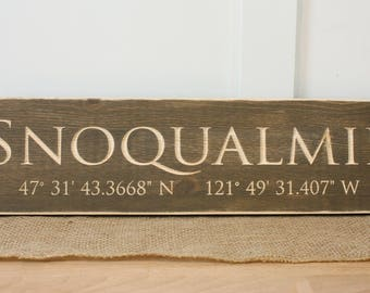 City with GPS Coordinates | 6x20 Carved Wood Sign | Customized Distressed Farmhouse Wooden Sign