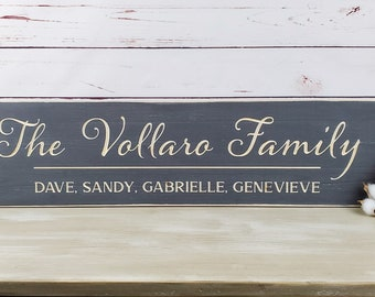 Script Last Name Sign with First Names    8x30 Carved Wood Sign Family First Names   Personalized Farmhouse Script Wooden Sign